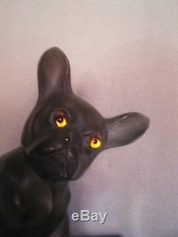 Ancien sculpture art deco 1930 statue chien bouledogue français yeux verre lampe