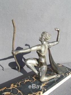 Ancien sculpture femme à l'arc art deco 1930 statue le faguays Max Le Verrier