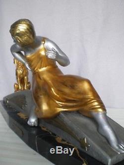 Ancien sculpture femme art deco 1920 VAN DE VOORDE statue antique figurine woman