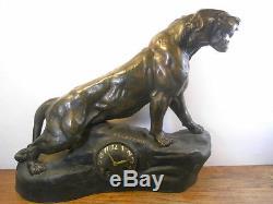 Ancienne Grande Pendule T. Cartier Panthere Lionne Sculpture Animaliere Pendulum