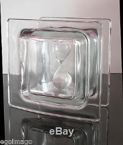 Ancienne Sculpture Bloc De Glass Renfermant Un Sablier 1970