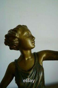 Ancienne Sculpture Bronze Jeune Femme Signee Aurore Onu Epoque Art Deco 1925