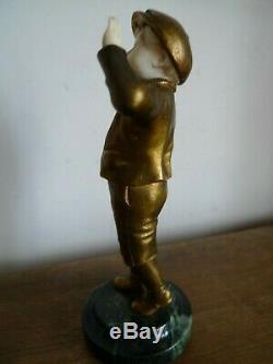 Ancienne Sculpture Chryselephantine Bronze Jeune Garcon Art Deco Vers 1920 XIX