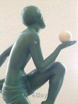 Ancienne Sculpture Epoque Art Deco Danseuse Jongleuse Marcel Bouraine