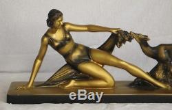 Ancienne Sculpture Femme garçonne Art Déco S MELANI biche Plâtre peint or bronze