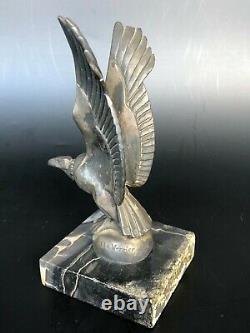 Ancienne Sculpture Serre Livre Vautour Signé Max Le Verrier Art Deco Bookend