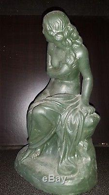 Ancienne Statue Sculpture Statuette Femme Nu Erotique Terre Cuite Signee An 1918