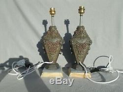Ancienne paire pied de lampe art deco 1930 BACCHUS sculpture antique lamp statue