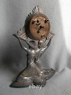 Ancienne pendule sculpture art deco exposition coloniale 1931 statuette femme