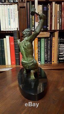 Années 30 SCULPTURE ART DECO REGULE patiné vert-de-gris SIGNE G. HERVOR FORGERON