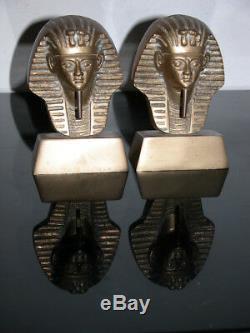 Antique Bronze Egyptian Sculpture Bookends, Pharaon Ramsès