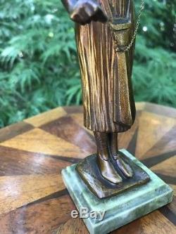 Antique sculpture CHRYSÉLÉPHANTINE EN BRONZE À PATINE XIX-XXÈME Signe Art Deco