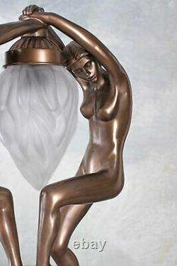 Art Déco lampe de table abat-jour en verre danseurs nus sculpture de femme neuf