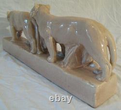 Art déco ODYV céramique Craquelé Tigre Pompon Statue Sculpture 53 cm