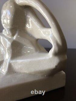 Art deco panthere Sculpture Céramique Craquelée Signée E. SIELG 1930/50 30cm