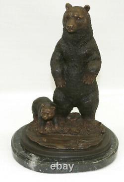 Artisanal Véritable Bronze Sculpture Solde Deco Art Ours Grand Fonte Figurine