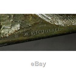 BECQUEREL 1893 1981 JOUEUR DE FOOTBALL circa 1920 BRONZE Original signé