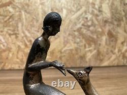 Belle Sculpture Bronze Socle Marbre Année 1930 Art Deco Femme A La Biche