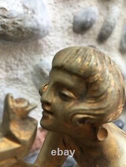 Belle Sculpture En Bronze Ancienne DEMETER CHIPARUS 1930 Art Deco Femme Oiseau