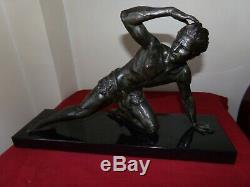 Belle Sculpture Statue époque Art Déco Le Guetteur de J. De Roncourt