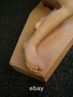 Belle Sculpture rené Rod, Art Deco Jeune Fille Et Agneau Terre Cuite Début XXe