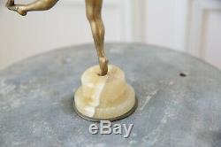 Belle et ancienne sculpture en bronze doré Colinet la jongleuse art déco