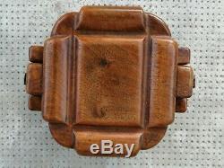 Boîte design art déco Base monoxyle modernist box sculpture carved wood