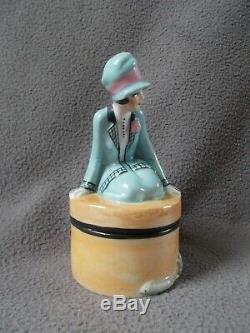 Boite en porcelaine art deco fasold & stauch statuette femme sculpture half doll