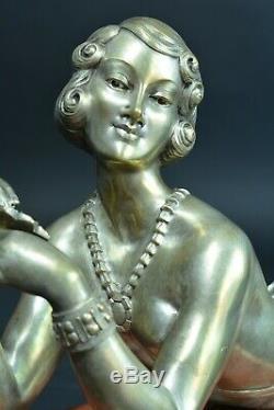 Bronze Ancien Art deco portrait jeune femme élégante cabaret dévêtu H. Molins