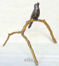 Bronze animalier Art Déco. Un rossignol sur une branche. J. BRAULT éditeur