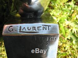 Bronze argenté Art Déco paire de serre livres Poussin George H LAURENT USA