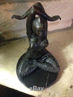 Bronze d'après Chiparus Art Deco Sculpture Statue femme Danseuse Civa Shiva 1930