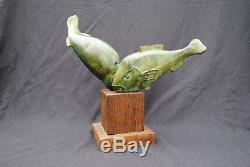 Bronze rare poissons années 30 sculpture Sandoz