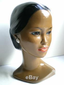 Buste de Polynésienne, statue plâtre peint, sculpture vintage Femme Tahitienne