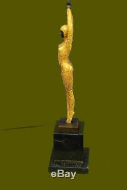 Chiparus Bronze Massif Sculpture. Abstrait Art Déco Nouveau Figurine