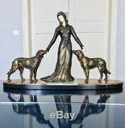 Chryséléphantine Art Déco signée Limousin Sculpture bronze onyx marbre Statue