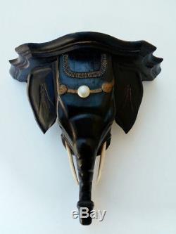 Console. Elephant. Bois. Sculpture. 19eme. Applique. Statue. Art Deco. Carved Wood