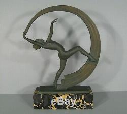 Danseuse Nue Au Ruban Sculpture Art Déco Signée Janle Éditeur Max Le Verrier