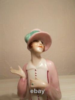 Demi figurine 1920 sculpture femme en porcelaine half doll statuette art deco