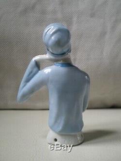 Demi figurine art deco FASOLD & STAUCH 1920 vintage half doll lady sculpture 20s