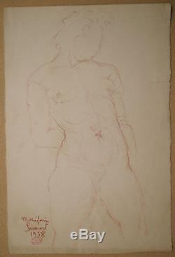 Dessin Sanguine Nu Féminin Etude Sculpture Art Déco MARIE-LOUISE SIMARD 1938 #6