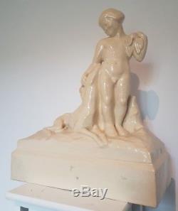 Edition Kaza Grande sculpture Craquelé Céramique Art Déco 1930 SIGNÉE g. Beauvais