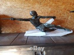 Embuscade Par Max Le Verrier Sculpture Statue En Régule Art Déco Bronze Pierre