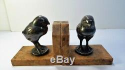 F. Rupert CARABIN Paire de Serre livres sculpture mascotte deb XXème