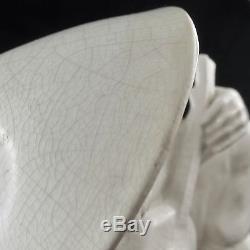 Faïence SARREGUEMINES Sculpture CHINOIS A LA MANDOLINE Blanc Craquelé Art Deco