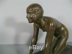 Femme Nue Sculpture Ancienne Bronze Art Déco Signé Sylvestre Fondeur Susse