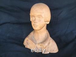 François DALBIGNAC sculpture terre cuite buste enfant garçon Art Déco portrait