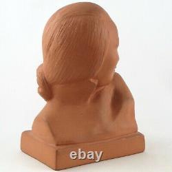GASTON HAUCHECORNE Sculpture Buste Terre Cuite Chinoise au Chignon Art Déco