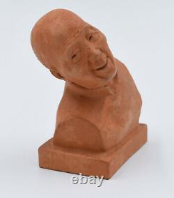GASTON HAUCHECORNE Sculpture Buste Terre Cuite Penseur Chinois Art Déco 1930