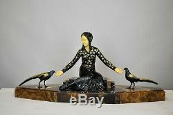 G Gori, Femme Aux perdrix, Sculpture Art Déco, XXème Siècle